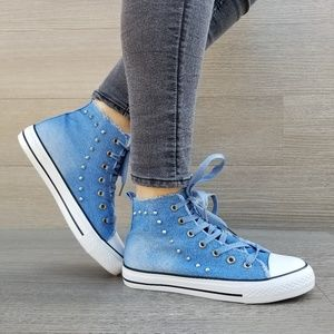 Shoes - Jean High Top Fashion Sneakers W/ Metal Studs-D